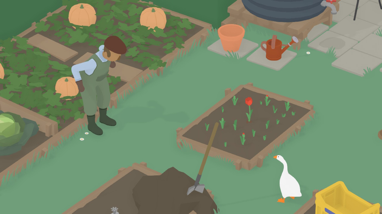 A gardener stares directly at the titular Untitled Goose.