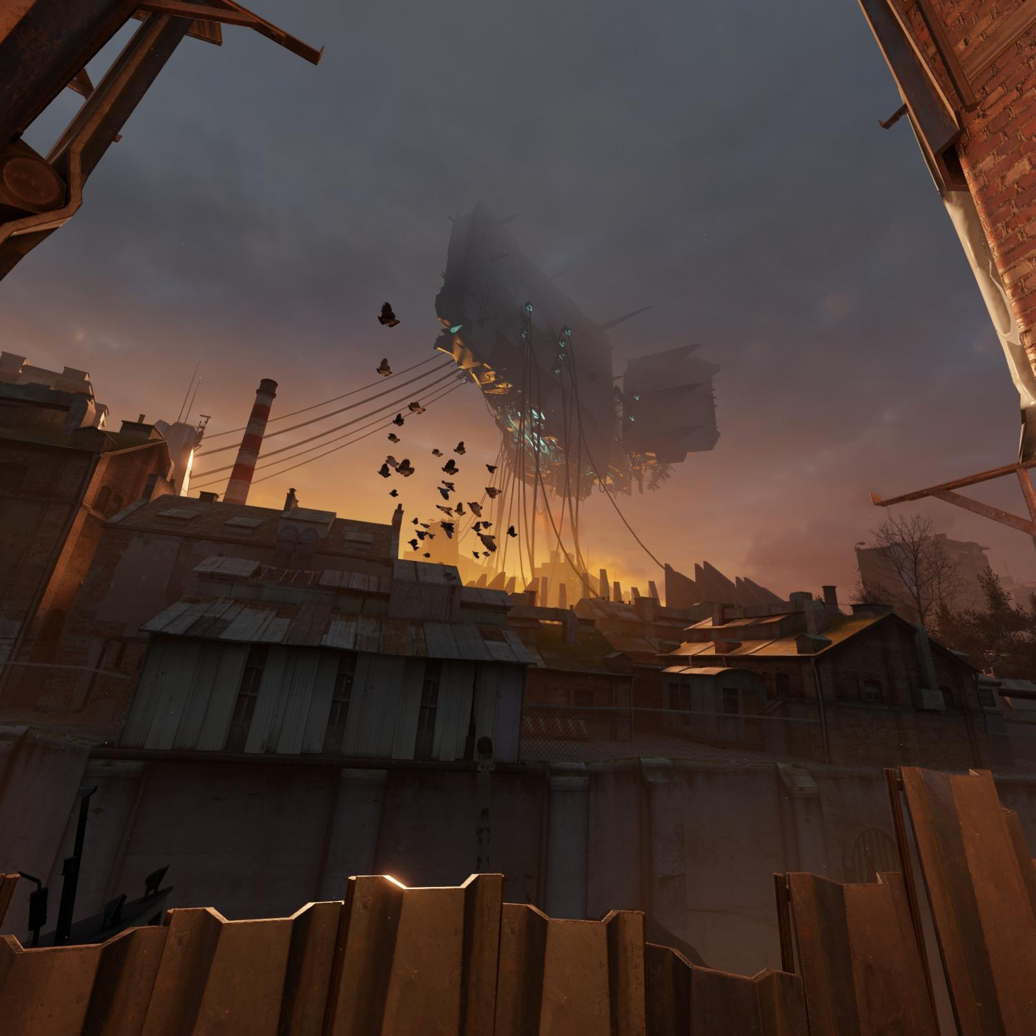 """Alyx""'s story centers around stealing a superweapon from the sky-suspended Vault, pictured. It's not as substantial a story as the game thinks it is."