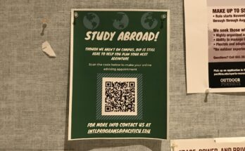 One of the study abroad posters hanging around campus