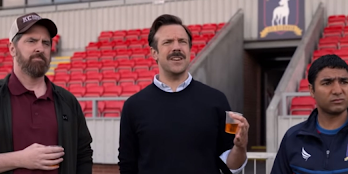 (Left to Right) Brendan Hunt as the mysterious Coach Beard, Jason Sudeikis as Ted Lasso, and Nick Mohammed as Nathan, AFC Richmond's shy kit man -- Photo Courtesy of Sporting News